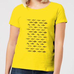 Florent Bodart Fish In Geometric Pattern Women's T-Shirt - Yellow