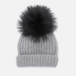 BKLYN Women's Cashmere Pom Pom Hat - Grey/Black