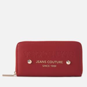 Versace Jeans Women's Logo Zip Around Purse - Red