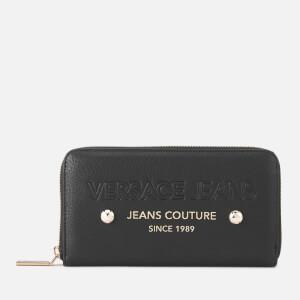 Versace Jeans Women's Logo Zip Around Purse - Black