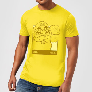 Nintendo Super Mario Wario Kanji Line Art Men's T-Shirt - Yellow