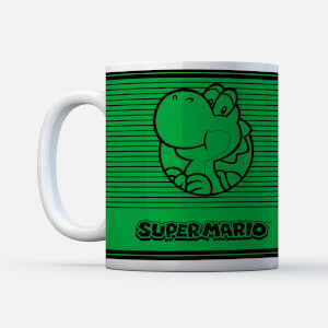 Nintendo Super Mario Yoshi Retro Line Art Colour Tasse