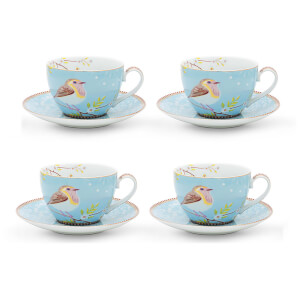 Pip Studio Cappuccino Cups and Saucers - Blue (Set of 4)