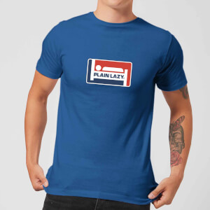 Plain Lazy Logo Print Men's T-Shirt - Royal Blue