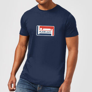 Plain Lazy Logo Print Men's T-Shirt - Navy