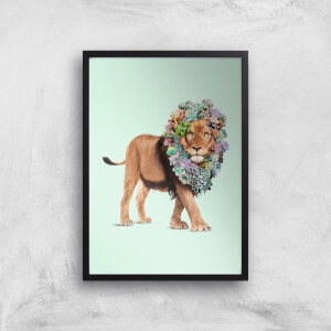 Jonas Loose Floral Lion Art Print