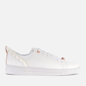 Ted Baker Women's Astrina Leather Frill Low Top Trainers - White