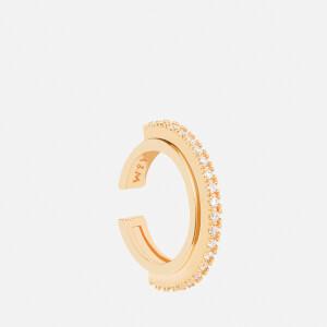 Astrid & Miyu Women's White Fitzgerald Circle Earcuff - Gold