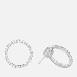 Astrid & Miyu Women's Tuxedo Circle Earrings - Silver