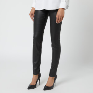 Emporio Armani Women's Coated Denim J20 High Rise Skinny Jeans - Black