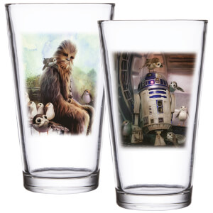 Star Wars: EPVIII The Last Jedi Set of 2 Pint Glasses - Porg & R2-D2 Scene