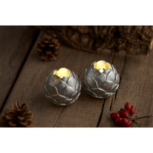 Sirius Helene LED Wax Candle Set with Timer - Silver
