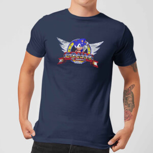 Sonic The Hedgehog Distressed Start Screen Men's T-Shirt - Navy