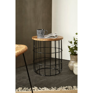Fifty Five South Crest Round Side Table - Natural Wood