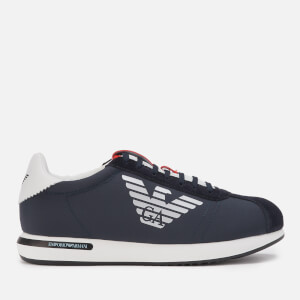 Emporio Armani Men's Big Suede/Nylon Runner Style Trainers - Navy/Night/White