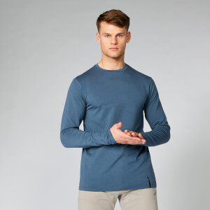 Klasyczna Koszulka z Długim Rękawem z kolekcji Luxe - Ciemny Indygo