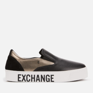 Armani Exchange Women's Leather/Mirror Patent Slip-On Trainers - Black/Gun Metal/Black