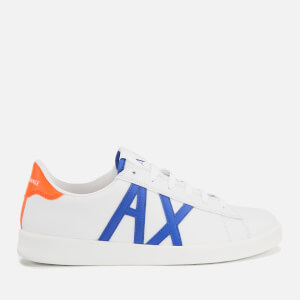 Armani Exchange Men's Croc Embossed Leather Low Top Trainers - White/Bluette