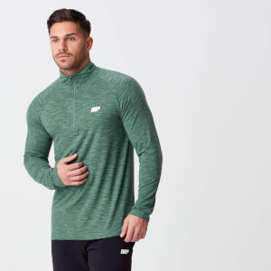 Men's Performance 1/4 Zip Top - Dark Green Marl