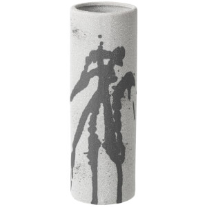 Broste Copenhagen Splash Cylinder Ceramic Vase - Grey and White - 18cm