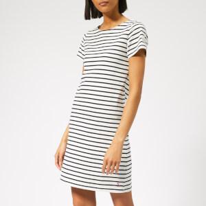 Joules Women's Riviera Regular Short Sleeve Dress - Cream Navy Stripe
