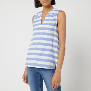 Joules Women's Juliette Sleeveless V Neck Top - Blue Cream Stripe