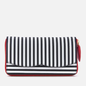 Lulu Guinness Women's Stripe Continental Wallet - Black/Chalk