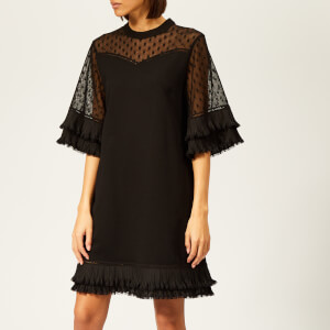 McQ Alexander McQueen Women's Volume Ruffle Dress - Darkest Black