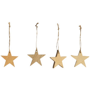 Nkuku Chana Mango Wood Star Decorations - Natural (Set of 4)