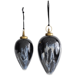 Nkuku Danoa Giant Drop Bauble - Aged Smoke/Black