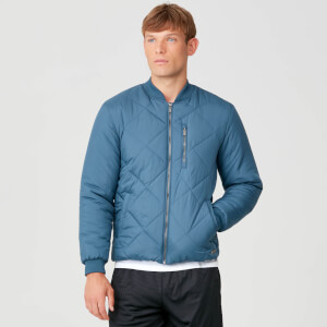 Pro-Tech Quilted Bomber Jacket - Petrol Blue