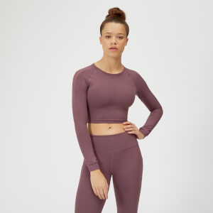Power Langærmet Crop Top - Mauve