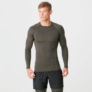Myprotein Charge Compression Long Sleeve Top - Dark Khaki