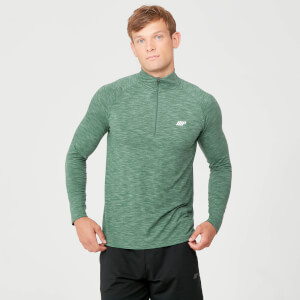 Performance 1/4 Zip Top - Dark Green Marl