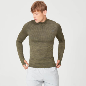 Myprotein Sculpt Seamless 1/4 Zip Top - Light Olive