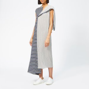 JW Anderson Women's Asymmetric Striped Jersey Silk Dress - Navy