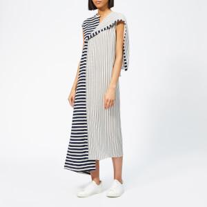 JW Anderson Women's Asymmetric Striped Jersey Silk Dress - Navy