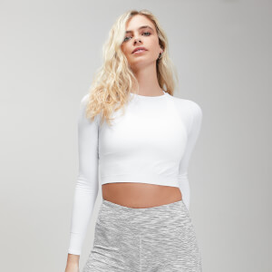 MP Women's Shape Seamless Ultra Long Sleeve Crop Top - White