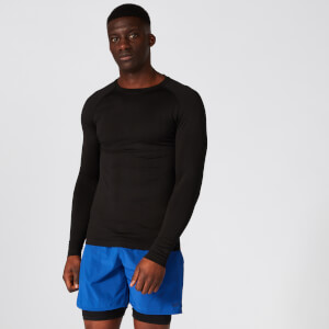 Elite Seamless Long-Sleeve T-Shirt – Black