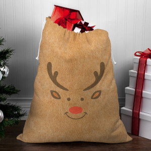 Reindeer Face Christmas Sack