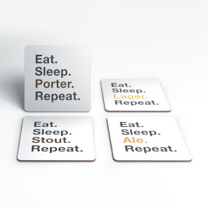 Eat Sleep Beer Repeat Coasters (Pack of 4)