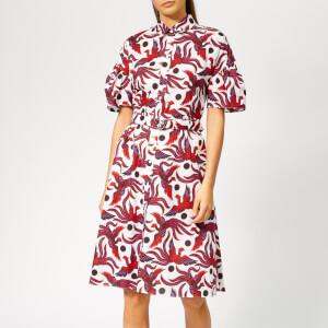 KENZO Women's Shirting Belted Dress - Medium Red
