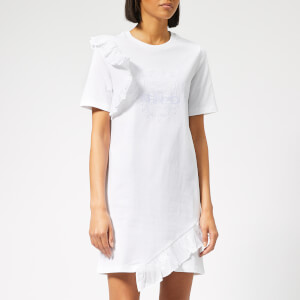 KENZO Women's Tiger T-Shirt Dress with Ruffle - White