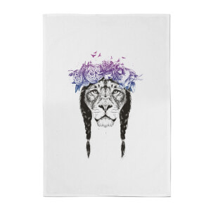 Balazs Solti Lion and Flowers Cotton Tea Towel