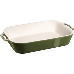 Staub Ceramic Rectangular Gratin Dish - 34cm x 24cm Basil