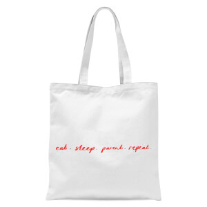 Rock On Ruby Eat Sleep Parent Repeat Tote Bag - White