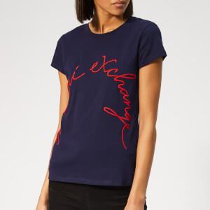Armani Exchange Women's Brand Logo T-Shirt - Navy