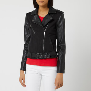 Armani Exchange Women's Jersey Biker Jacket - Black