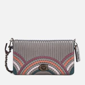 Coach Women's Dinky Bag with Colorblock Deco Quilting and Rivets - Metallic Graphite Multi