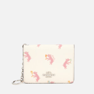 Coach Women's Pig Print Key Ring Card Case - Chalk